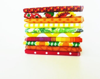 Sunshine Bold Cloth Napkins - Reusable Paper Towels - Bright Red Modern Every Day Napkins - Eco Friendly Unpaper Towel - Soft Fabric 10 x 12