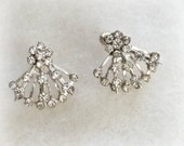 Rhinestone Fan Earrings, silver tone, Screw back, elegant 1950s evening costume jewelry