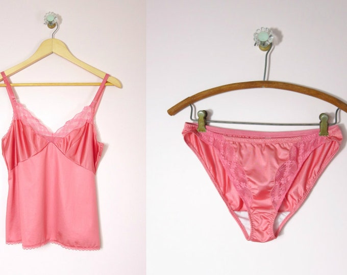 Pink Camisole and Panties Set | 1980s Formfit Coral Pink Cami & Panties Set S Deadstock