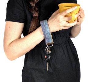 Handwoven Purple Ombre Key Fob Wristlet | Woven Bracelet Keychain | Colorful Modern Key Wristlet | Boho Woven Strap Bracelet | Women's Gifts