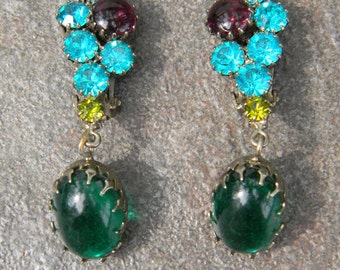Gorgeous Vintage Purple and Green Cabochon and Aqua Blue Rhinestone Dangling Earrings
