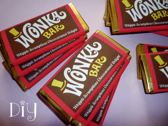 Wonka Bar labels Wonka Bar candy bar label Willy Wonka
