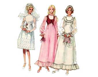 1970s  Boho Wedding Dress Pattern with Bolero High Collar Provincial Long Sleeve Ruffles Simplicity 9608 Bust 38 Vintage Sewing Pattern