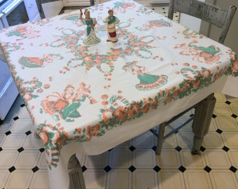 Vintage Broderie Mexican Tablecloth Dancing Senors & Senoritas
