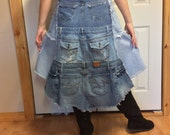 2X UpCycled Blue Jean Skirt/Plus Size/Short/Midi/Denim Skirt/Hi Low Skirt/Light Wash/Frayed/Distressed/Recycled Jeans/Repurposed Clothing