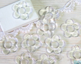 10 Clear transparent acrylic flower beads , size 33 mm , daisy flower beads , Chunky beads , for your DIY craft and Jewelry projects