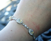 Art Deco Bracelet   14 K white gold  over 925 Sterling silver with  Fire  Ethiopian opal ,Cubic Zirconia  Very Elegant