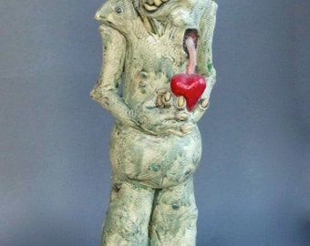 Monster with Heart Ceramic Sculpture