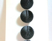 "Original card of 1/2 "" Black Glass Buttons  Resemble a Leaf 4687-6"