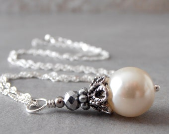 Ivory Pearl Necklace, Bridal Necklace, Pearl Pendant on Sterling Silver Chain, Beaded Wedding Jewelry in Antiqued Silver