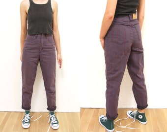 Vintage Striped High Waisted 90s Jeans XS denim // purple and red striped 1990s pants with super high waist