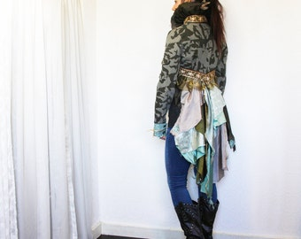 upcycled clothing, upcycled fashion, wearable art, cropped bustle jacket . taming the high seas . XS - S