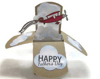 Pop Up Card - Masculine Happy Birthday Card - Vintage Airplane Card - Father's Day Card - World's Best Dad - Grandfather Card - Customizable