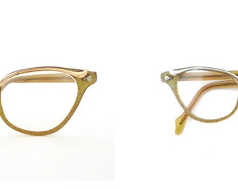 Glitter Confetti Cat Eye Glasses Gold & Metallic VTG 50s 60s Bigger Frame Embellished Browline MCM MidCentury Rockabilly Vixen Sunglasses