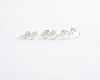 Open circle gift set 3mm 6mm 7mm O Stud Earrings Tiny Silver Earrings Simple Modern Minimal Wire Jewelry small dot studs Circle Stud 0208
