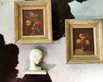 Vintage Mid Century Floral Prints Framed Roses Tulips Pair SALE