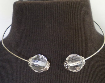 Necklace Open Choker Collar Cuff Clear Faceted Beads