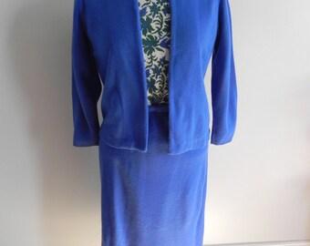 Vintage 1950s Pencil Skirt and Cardigan , Dress Suit 50s 60s Blue Soft Knit Skirt Jacket S M - on sale