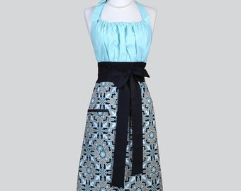 Cute Kitsch Womens Apron . Joel Dewberry Horse Blanket Aqua and Black Retro Modern Chef Kitchen Apron with Pockets