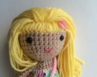 Handmade doll, Crochet doll, Rag doll, Soft toy, kawaii toys, blonde doll,amigurumi, ready to ship toy