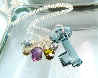 Swarovski Crystal Key Necklace, Gemstone Necklace, Mystic Topaz, Ametrine, Amethyst, Skeleton Key, Sterling Silver Necklace