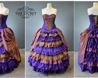 alternative wedding gown-copper-purple-ruffle-corset dress-the secret boutique-denver custom gown-steampunk-victorian-gothic-unique-couture