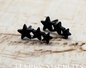 4 pieces (2 pairs) Nickel Free - High Quality Star Dual-used Black Earring Post Finding with Ear Stud Stopper (SS018)