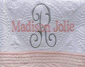Monogrammed Baby Quilt -  Personalized / Monogrammed / Embroidered Baby Blanket With Pink Trim