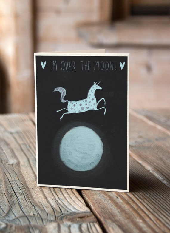 I'm Over The Moon - Valentines, Anniversary, Wedding, Engagement Card