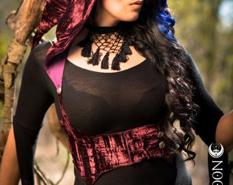 The Crushed Velvet Underbust Vest/Harness w/DETACHABLE Pixie Hood in Burgundy Red by Opal Moon Designs (Size S-XXL)
