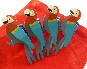Multi Colored Parrot Napkin Rings - Set of 4