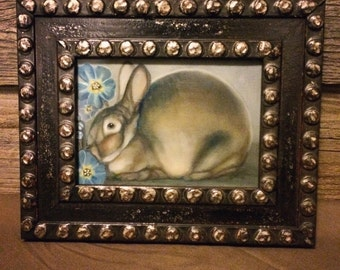Original framed oil painting 10.5x8.5 surreal rabbit and forget-me-not flowers: Sineater