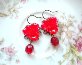 Red Earrings Romantic Jewelry Red Dangle Earrings Red Flower Earrings Gift For Girlfriend Flower Dangle Earrings Red Glass Earrings