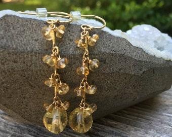Citrine earrings, Citrine gemstone, Dangle earrings, Multistone earrings, Gemstone earrings, dainty earrings, gold earrings, Yellow gemstone