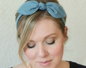 Chambray Bow Headband Hair Accessories Womens Headband Blue Headband Fabric Headband Adult Headband  Scarf Headband Denim Headband
