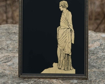 Grecian Woman - Gilded gold leaf on glass - verre eglomise