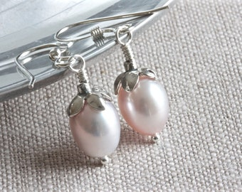 Freshwater Pink Pearl Earrings, Silver Flower Earrings, Sterling Silver Jewelry, Modern Design