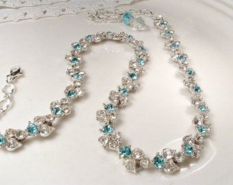 Vintage Aqua/Turquoise/Teal Blue & Clear Rhinestone Bridal Necklace, Pave Crystal Silver Leaf Link Statement Necklace Bogoff Rustic Romantic