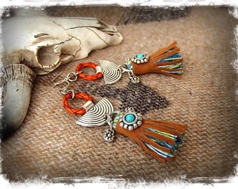 Native TASSEL Earrings TRIBAL Disk earrings Cowgirl Afrocentric earrings Dangle earrings Boho Chic Leather earrings Festival jewelry GPyoga