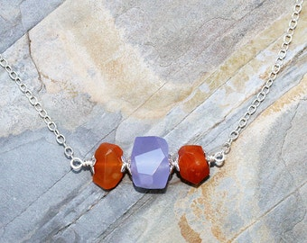 Orange and Purple Necklace, Carnelian Necklace, Bar Necklace, Raw Stone Necklace, Lavender Necklace, Jade Necklace, Mother's Day Necklace