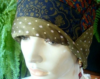 womens hat chemo hat cloche flapper olive navy made from mens ties ooak