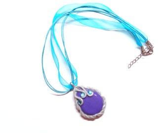 Princess Sofia Amulet Necklace - Handmade Cold Porcelain Clay Purple Amulet Pendant Charm in a Acqua Blue Organza Ribbon Necklace - OOAk