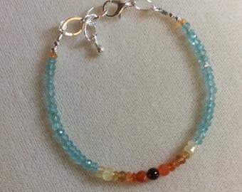 Apatite, garnet, carnelian, Mexican Fire Opal, Hessonite Garnet, Prehnite bracelet, January birthstone