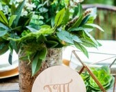Engraved Table Number Circle Signs for Wedding & Party Table Decor, Wooden or Gold Circle Number Roman Numeral Centerpieces (Item - CEN200)