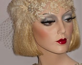 FEMME CHAMPAGNE LACE & French Net Gatsby Headband, 20s Bridal Headband, Old Hollywood Wedding Headpiece, Great Gatsby Flapper Headband