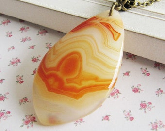 Orange agate necklace, large pendant necklace, orange jewelry, bronze necklace, for her, Europe