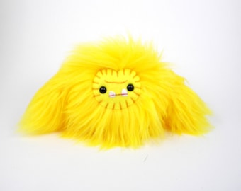 Plush sasquatch monster Sunshine toy yellow stuffed animal baby yeti ugly cute kawaii softie big foot ape beast plushie geek small toy