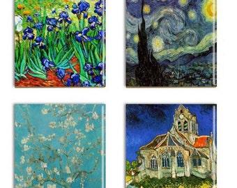 Van Gogh Coasters Famous Artist Ceramic Drink Coasters  Vincent Van Gogh Sublimated Assorted Coasters Artist Gift Wall Decor Art
