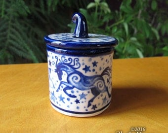 Tiny Horse Jar with Lid - cobalt blue ceramic handmade