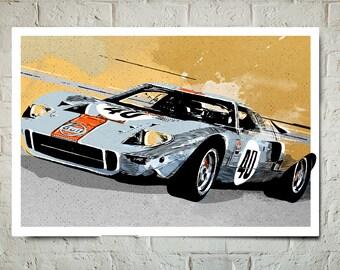 Car Art - Ford GT40 - Auto Art, Automobile Art, Automotive Decor, Ford, Man Cave Art, Car Gift, Art Print, Race Car Poster, Garage Art